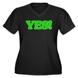 YES! Women's Plus Size V-Neck Dark T-Shirt