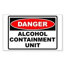Alcohol Containment Rectangle Bumper Stickers