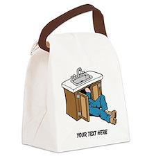 Plumber. Custom Text. Canvas Lunch Bag