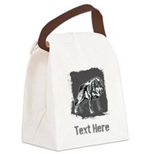 Gray Wolf and Writing. Canvas Lunch Bag