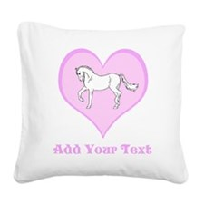 Horse and Pink Heart and Text. Square Canvas Pillo