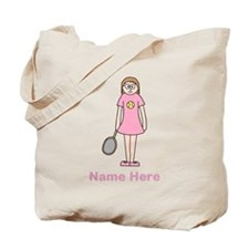 Tennis girl. Pink Text. Tote Bag