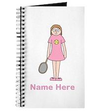 Tennis girl. Pink Text. Journal