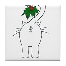 Season's Greetings From Our Cat Tile Coaster