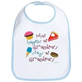 &quot;What happens at Grandma's stays at Grandma's&quot; Bib