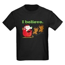 I Believe in Santa Kids T-Shirt Dark
