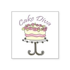 "Cake Diva Square Sticker 3"" x 3"""
