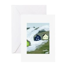 Colorful Winter Houses Greeting Card