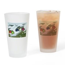 Colorful Winter Houses Drinking Glass