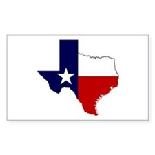 Texas Flag On Texas Outline Sticker (rectangle)