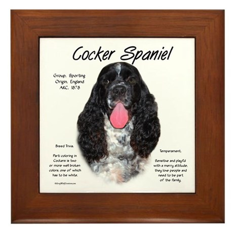 Parti b&w Cocker Spaniel Framed Tile