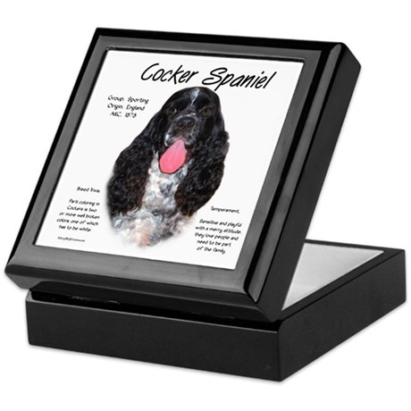 Parti b&w Cocker Spaniel Keepsake Box
