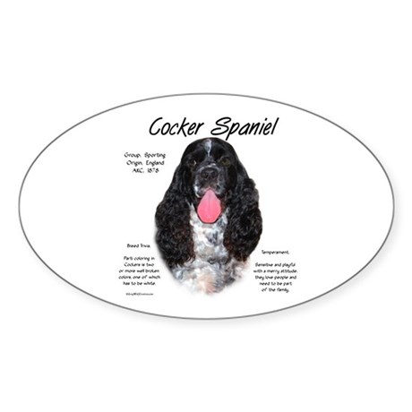 Parti b&w Cocker Spaniel Oval Sticker