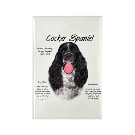 Parti b&w Cocker Spaniel Rectangle Magnet