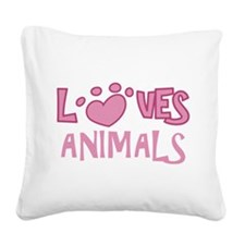 Loves Animals Square Canvas Pillow