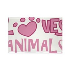 Loves Animals Rectangle Magnet