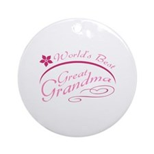 World's Best Great Grandma (pink) Ornament (Round)