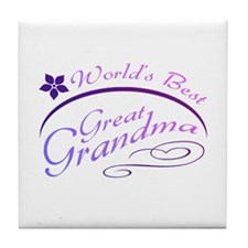 World's Best Great Grandma (purple) Tile Coaster