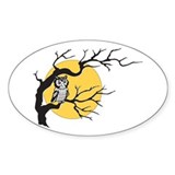 Owl and Full Moon Oval Bumper Stickers