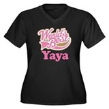 Cute Yaya Women's Plus Size V-Neck Dark T-Shirt
