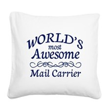 Mail Carrier Square Canvas Pillow