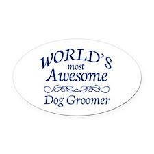 Dog Groomer Oval Car Magnet