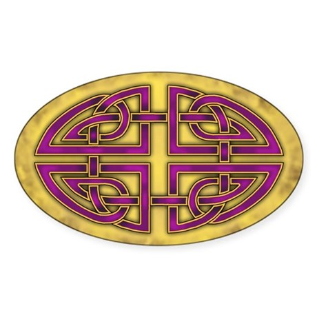 Celtic Knotwork (Purple) Oval Sticker