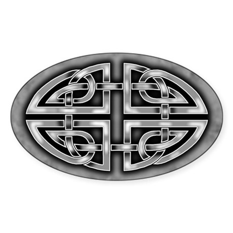 Celtic Knotwork (Grey) Oval Sticker