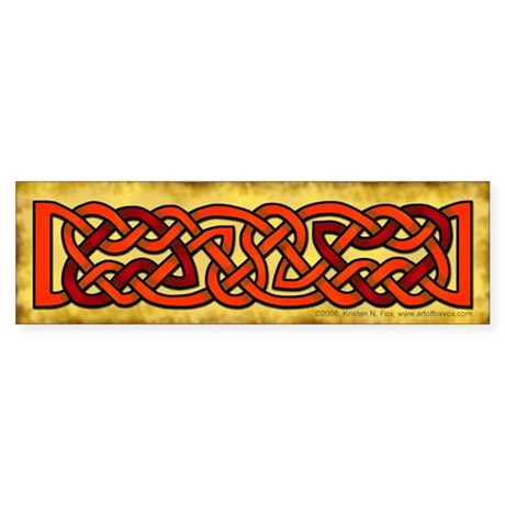 Celtic Knotwork (Red/Orange) Bumper Sticker