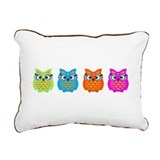 Colorful Owls Rectangular Canvas Pillow