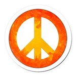 Peace on Fire Round Car Magnet