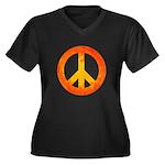 Peace on Fire Women's Plus Size V-Neck Dark T-Shir