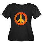 Peace on Fire Women's Plus Size Scoop Neck Dark T-