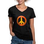Peace on Fire Women's V-Neck Dark T-Shirt