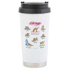 Cat YOGA POSES Ceramic Travel Mug