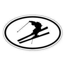 Skiing Oval Decal