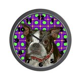 Cute Boston terrier pop art Wall Clock