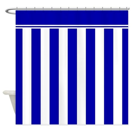 Navy Blue And White Sailor Stripes Shower Curtain By InspirationzStore