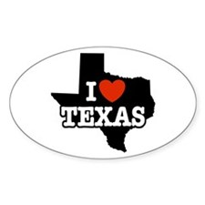 I Love Texas Oval Decal