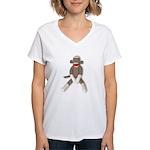 Sock Monkey Sitting Women's V-Neck T-Shirt