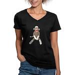 Sock Monkey Sitting Women's V-Neck Dark T-Shirt