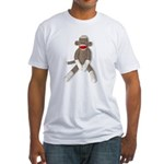 Sock Monkey Sitting Fitted T-Shirt