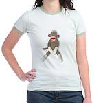 Sock Monkey Sitting Jr. Ringer T-Shirt