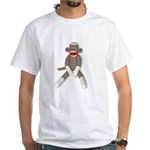Sock Monkey Sitting White T-Shirt