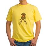 Sock Monkey Sitting Yellow T-Shirt
