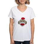 Sock Monkey Face Women's V-Neck T-Shirt
