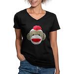 Sock Monkey Face Women's V-Neck Dark T-Shirt
