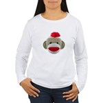 Sock Monkey Face Women's Long Sleeve T-Shirt