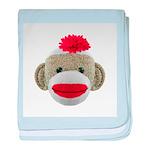 Sock Monkey Face baby blanket
