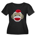 Sock Monkey Face Women's Plus Size Scoop Neck Dark